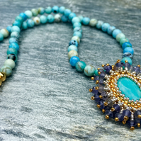 Turquoise, African Opal and Iolite beaded Sunburst Necklace