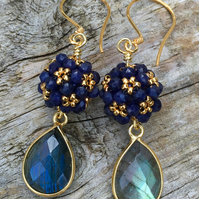 Sapphire and Labradorite, Berry Bead Drop Earrings (Gold Vermeil)