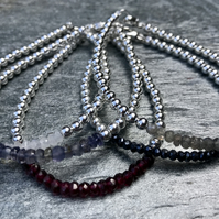 Set of Five Sterling Silver and Gemstone Stacking Bracelets