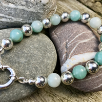 Sterling Silver and Amazonite, Ball Bead Bracelet.