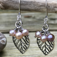 Silver Leaf and Pearl Drop Earrings (Natural pink pearl)