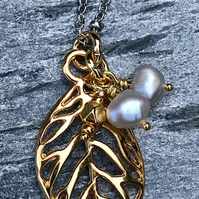 Gold Leaf and Pearl Drop Pendant - natural pearls, with silver chain.