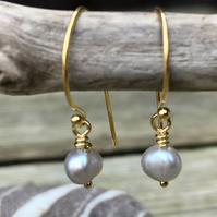 Petite Pearl and Gold Plated Sterling Silver Earrings