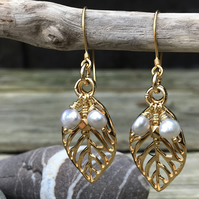 Gold Leaf and Pearl Drop Earrings.