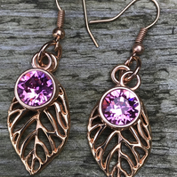 Rose Gold Leaf Charm and Swarovski Crystal Drop Earrings