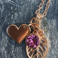 Rose Gold Leaf and heart Charm and Swarovski Crystal Drop Pendant Necklace