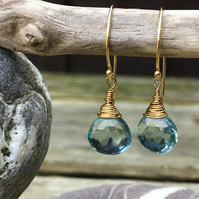 Gold and Blue Topaz Briolette Drop Earrings
