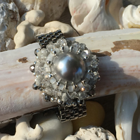 Swarovski Pearl, Raw Grey Diamond and Hematite, Woven Ring