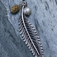 Long Fern Leaf, Pine Cone and Freshwater Pearl, Charm Necklace