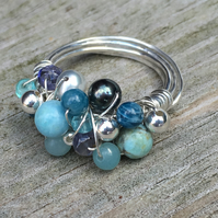 Sterling Silver Wire Wrap, Gemstone Bubble Ring.