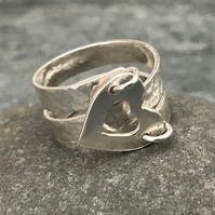 Sterling Silver Wrap, Heart Ring