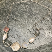 Sterling and Fine Silver, Gemstone, Pearl and Silver Shell Necklace