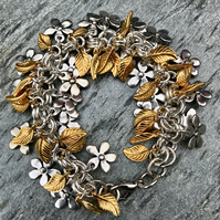 Silver and Gold Multi Leaf and Flower Charm Bracelet