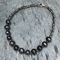 Freshwater Peacock Pearl, Hematite and Sterling Silver, Bracelet (single).