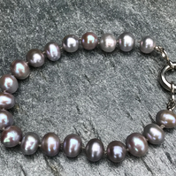 Freshwater Cultured Grey Pearl and Sterling Silver Bracelet