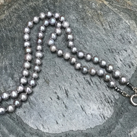 Freshwater , Grey, Cultured Pearl and Sterling Silver, Long Necklace.