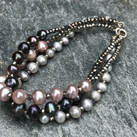 Freshwater Pearl, Hematite and Sterling Silver, Stacking Bracelets.