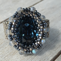 Labradorite and Swarovski Fancy Stone Beaded Ring