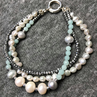Amazonite, Pearl, Hematite and Sterling Silver, triple strand bracelet.