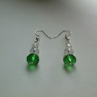 Crystal Pierced earrings in Green and Clear Crystal.  Silver plated wires.
