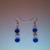 Deep Blue Crystal and Silver Filigree Pierced Earrings. Sterling Silver Wires.