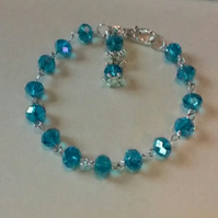 Sparkly Crystal Bracelet in Turquoise Blue.  Faceted Czech Crystals.