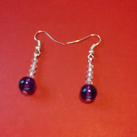 Purple Beads and Clear Crystal Pierced Earrings.  Dainty drops on Silver wires