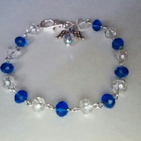 Royal Blue and Clear Crystal Guardian Angel Bracelet.