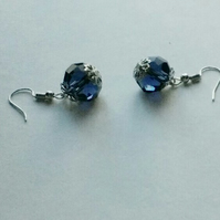 Denim Blue Crystals and Filigree Silver Pierced Earrings. Sterling Silver Wires.