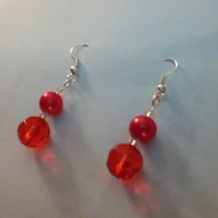 Bright Red Crystal and Pearl Pierced Earrings. Sterling silver.