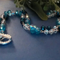 Royal Blue & Turquoise Fire-polished Crystal Necklace.
