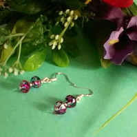 Unusual Speckled Blue and Pink Crystal Pierced Earrings. Sterling Silver Wires.