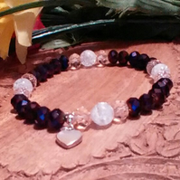Bracelet. Purple & Pink Crystals & Glass Beads.  Sterling Silver Heart Charm.