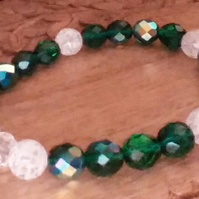 Green Czech Crystal Bracelet. Clear Crackle beads. Sterling Silver Heart Charm