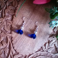 Royal Blue and Filigree Silver Pierced Earrings. Sterling Silver Wires.