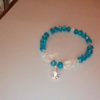 Turquoise and Clear Crystal Bracelet.  Swarovski Crystal Heart Charm