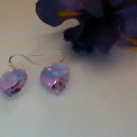 Lilac Crystal Heart Pierced Earrings on Sterling Silver wires.