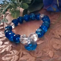 Dramatic Blue Crackle Bead & Clear Crystal Bracelet. Blue Crystal Heart Charm