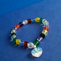 Lovely Rainbow Bracelet. Muliti-coloured Crystals and Clear Crystal Heart Charm.