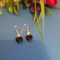 Black Polished Obsidian Heart Pierced Earrings.  Sterling Silver Wires.