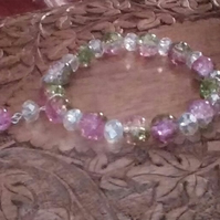 Pink and Green Crackle-bead Bracelet with Clear Crystals