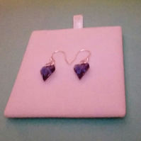 Swarovski Crystal Pierced Earrings. Wild Heart Tanzanite CrystalSterling Silver.