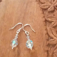 Preciosa Clear Crystal Pierced Earrings. Sterling Silver