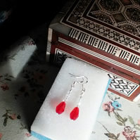 Stunning Red Teardrop and Clear Crystal Pierced Earrings.  Sterling silver wires