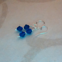Swarovski Capri Blue Crystal Pierced Earrings. Sterling Silver.