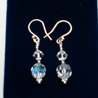 Pierced Earrings. Preciosa and Swarovski Clear Crystals. Sterling Silver.