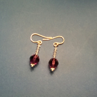 Swarovski Amethyst Crystal Pierced Earrings. Sterling Silver.
