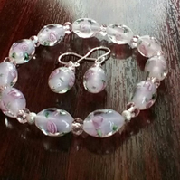 Bracelet. Floral Glass Beads and Pink Crystals.  Matching Earrings. Silver.