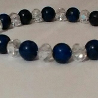 Unique Lapis Lazuli and Clear Crystal Bracelet with Crystal Teardrop Detail.