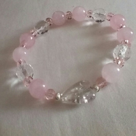Rose Quartz Healing Stone Bracelet with Crackle Bead Heart Charm.